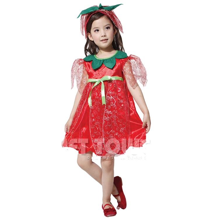 Man cheung cos halloween masquerade children's clothing children flower fairies fairy costume of red roses