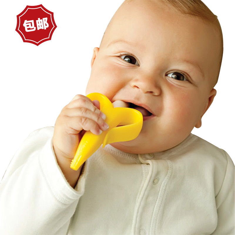 Us imports of baby banana banana baby toothbrush teeth stick silicone toys bpa free baby teeth glue