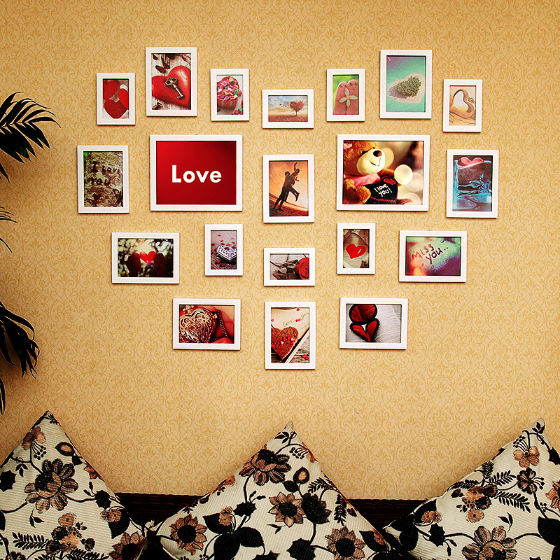 Wang bin frame 20 frame wood photo wall wedding photo frame wall photo frame picture frame shaped romantic love photo wall