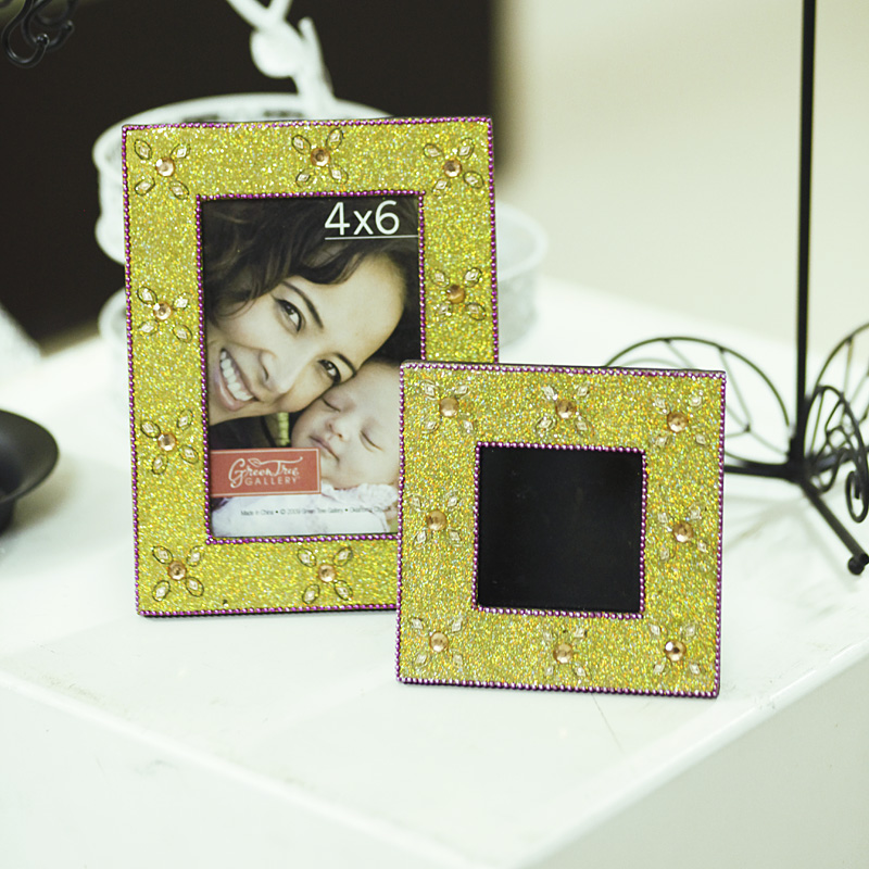 5-inch square wood frame continental bedroom bedside children's creative wedding photo frame crystal frame swing sets