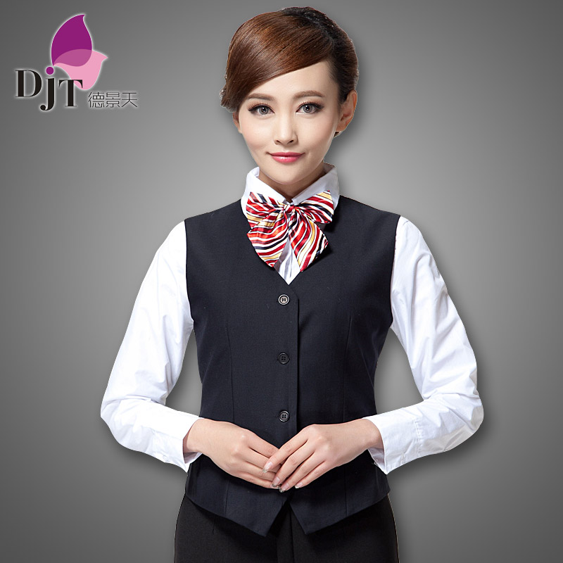Bank overalls female ol professional women slim vest vest vest iron dark blue suit vest