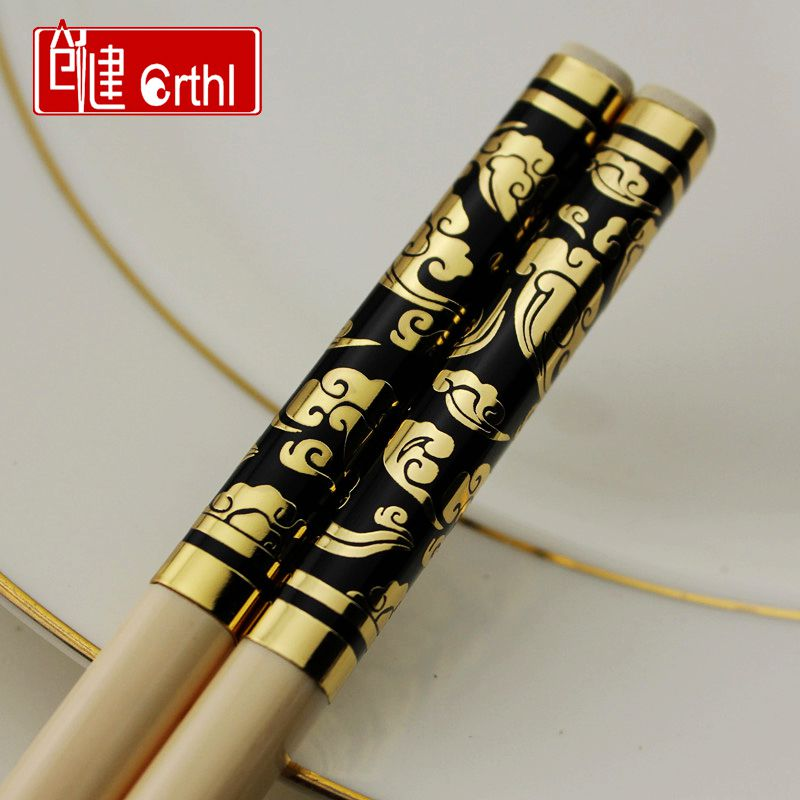 Chong kin h007 korea japan japanese hotel family silver imitation ivory chopsticks chopsticks chopsticks creative cutlery set 1 pairs