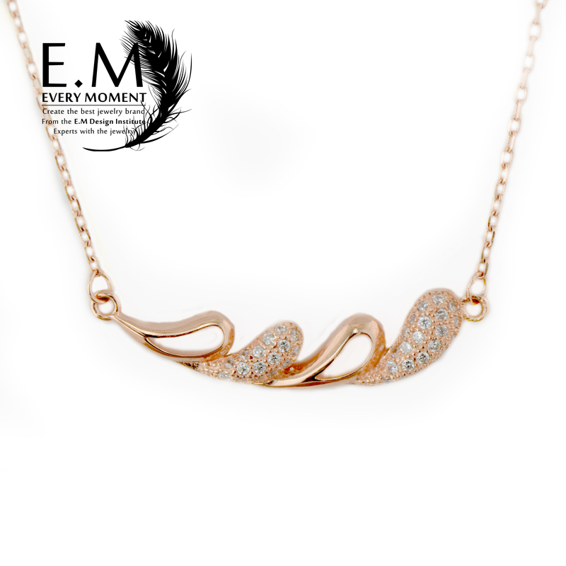 E. m925 ms. shiny silver plated rose gold necklace 925 silver necklace pendant short paragraph clavicle hypoallergenic