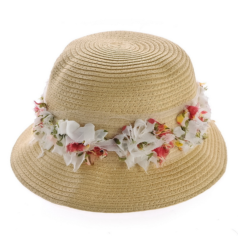 Kat decorated according to the pastoral style small fresh summer lace big flower hat lady straw hat straw hat dome flanging