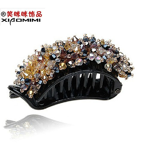 Free shipping korean version of the smiling banana clip vertical clip ponytail clip crystal rhinestone cross clip top folder headdress korean dish made hair accessories