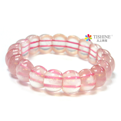 Tishine too much on the natural hibiscus species figure natural rose quartz pink crystal bracelet jewelry bracelets female models