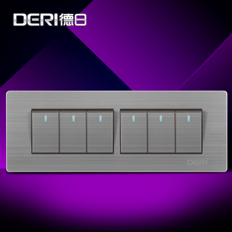 Germany and japan 118 type wall switch socket brushed stainless steel panel power switch liulian switch six open switch