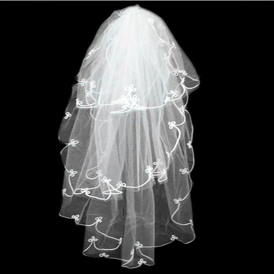 2015 new veil lace bridal veil 1 m 3 layers korean wedding ceremony beige veil