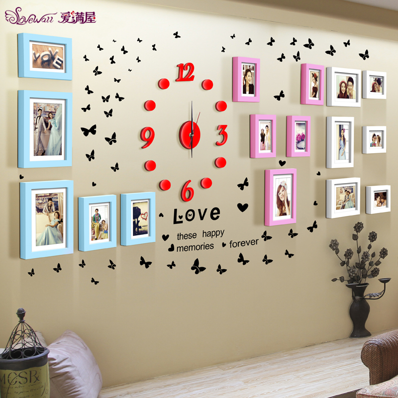 16 box combination photo frame wall love creative personality living room bedroom marriage room decorated korean wood photo wall clocks