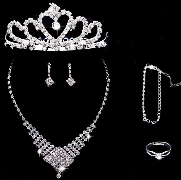 16 bridal jewelry rhinestone necklace earrings parure crown tiara wedding jewelry wedding yarn wedding accessories female