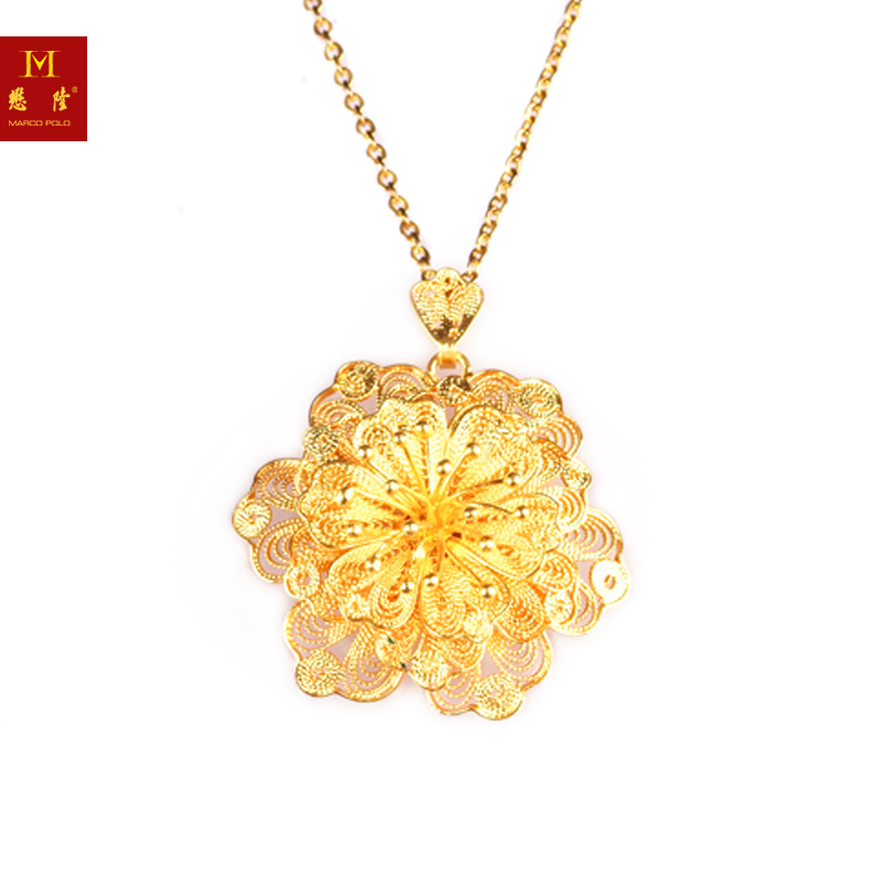K gold golden hand silk flower pendant necklace counter genuine female models shipping mollen â