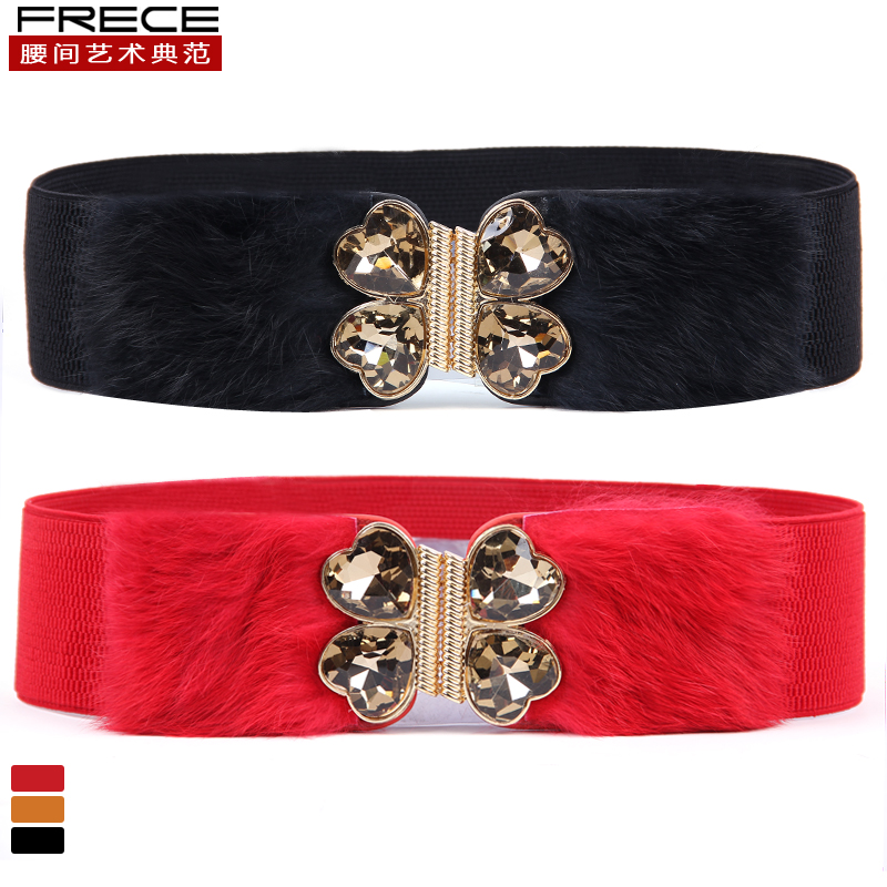 32a426072 Get Quotations · Real rabbit fur free shipping fur girdle elastic wide  girdle wild fashion decorative belt female wide