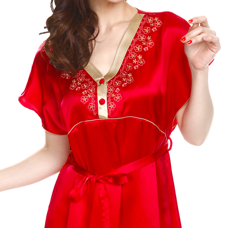 Xiang yi no. 100 silk pajamas silk nightgown female summer silk pajamas female short sleeve red silk nightgown