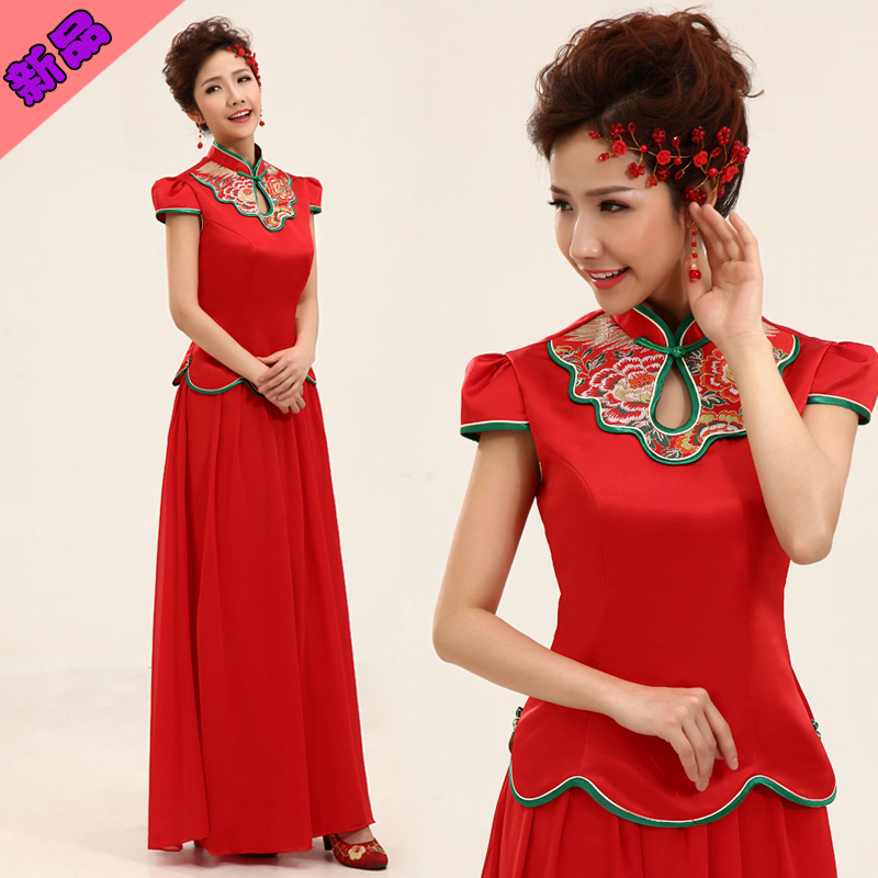 Improved chinese wedding dress red cheongsam dress long section collar 2013 autumn and winter bride wedding toast clothing fashion