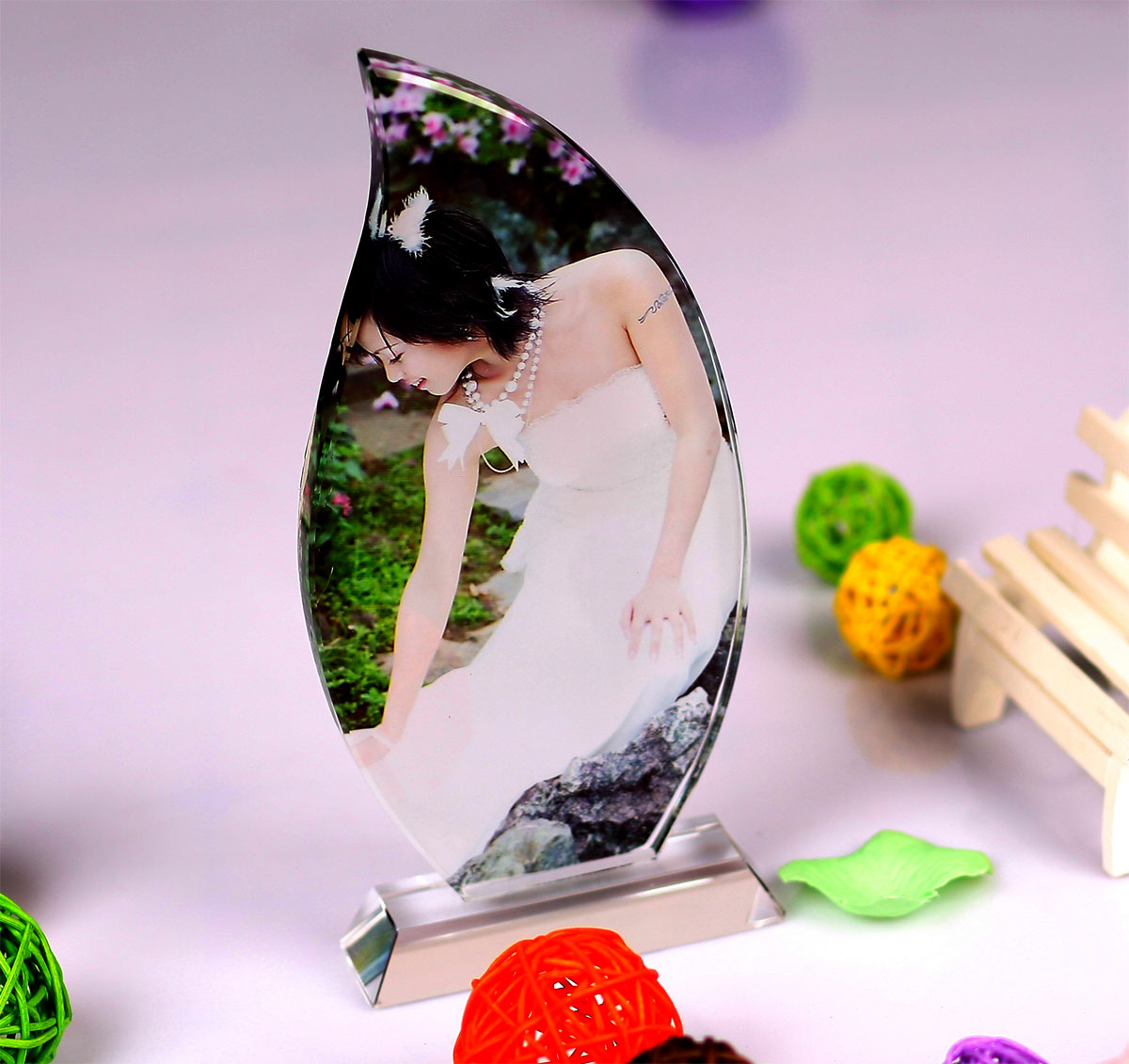 Crystal photo photo custom crystal leaf frame made diy personalized photo photo to send his girlfriend