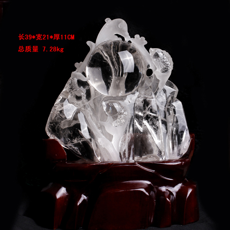Masaharu crystal carved pieces of hand carved natural white crystal white crystal engraving crystal clean fish