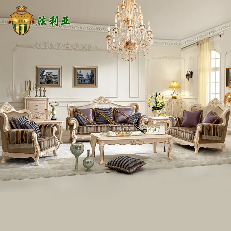 Faria european classical sofa fabric sofa solid wood sofa living room furniture carved gilt