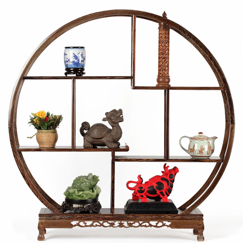 Solid wood curio antique mahogany carving crafts ornaments round 10 august 1999 large display rack shelf 1 m