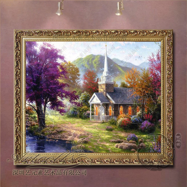 Painted landscape oil painting framed painting of european decorative painting the living room dining bedroom villa thomas garden view t071