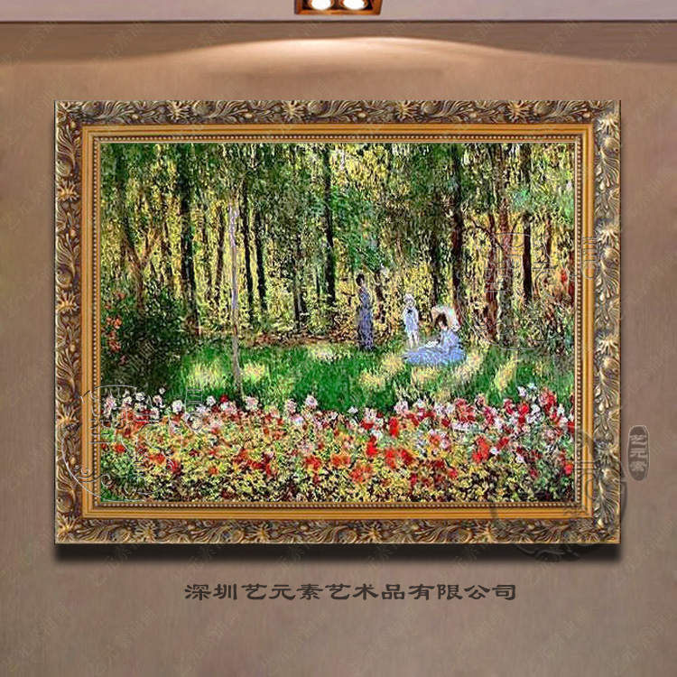 Pure hand copy monet european painting framed painting home decorative painting restaurant entrance living room fireplace YMN027