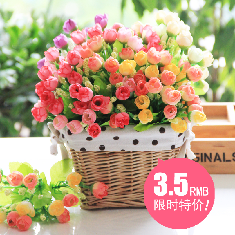 Home furnishings artificial flowers silk flower single beam artificial flowers artificial flowers decorative flower silk flower bouquet rose qq g