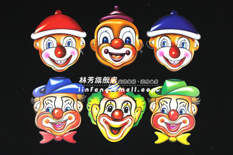 Lin fang g circus clown birthday party supplies birthday party mask halloween mask mask paper 6/pack