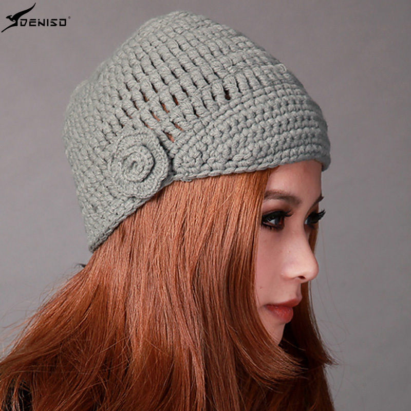 Deniso hat female winter hat winter hat female models handmade knitting needle cap hat wool hat knitted hat DS-1119