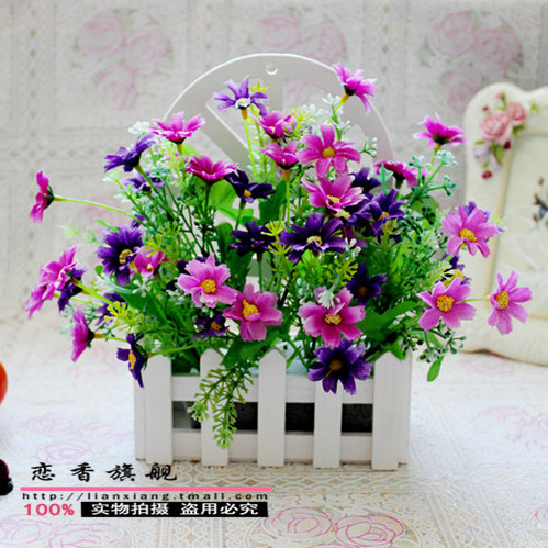 Small daisy flower silk wall hanging pots fence wall flower baskets hanging wall decoration artificial flowers fence floral suit