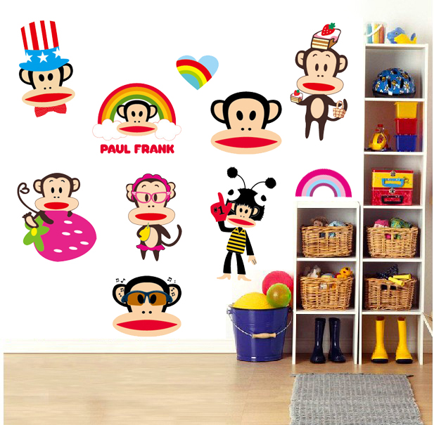 Three generations of free stickers mouth monkey cartoon children's room bedroom wall stickers kindergarten classroom sticker sticker