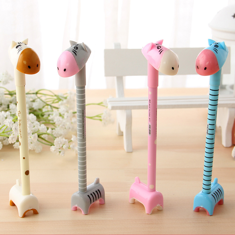 South korea creative stationery wholesale cute black gel pen 0.5mm pen korean children cartoon donkey pen