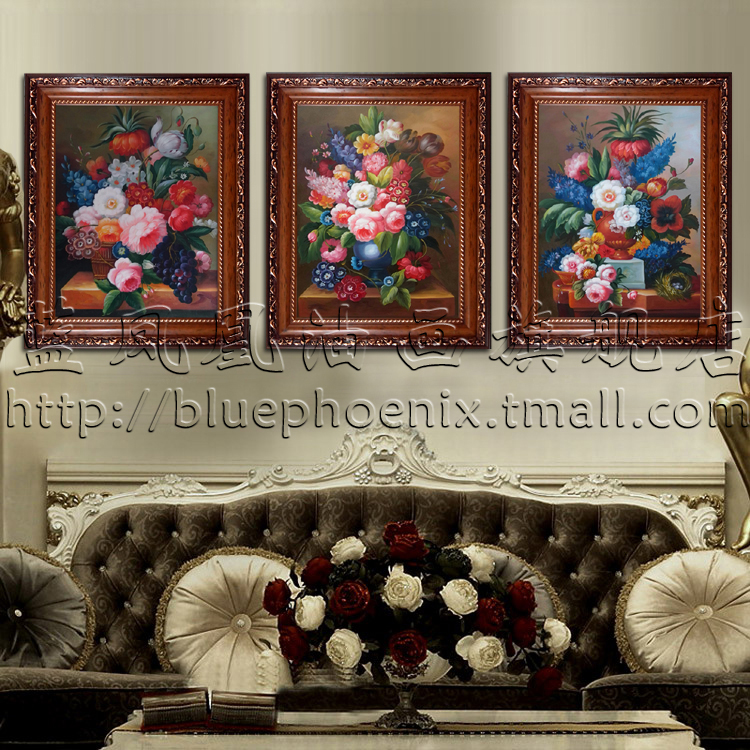 Upscale european classical flower oil painting home living room entrance hallway bedroom mural paintings framed decorative painting hand painting