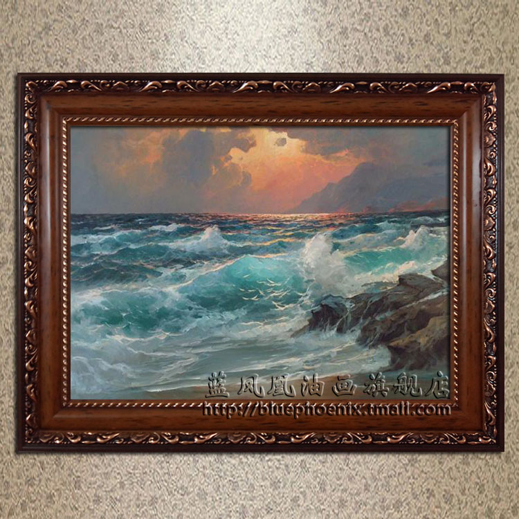 Blue phoenix upscale villa living room pure hand painted oil painting home decorative painting framed sub force alexander seascape paintings 4