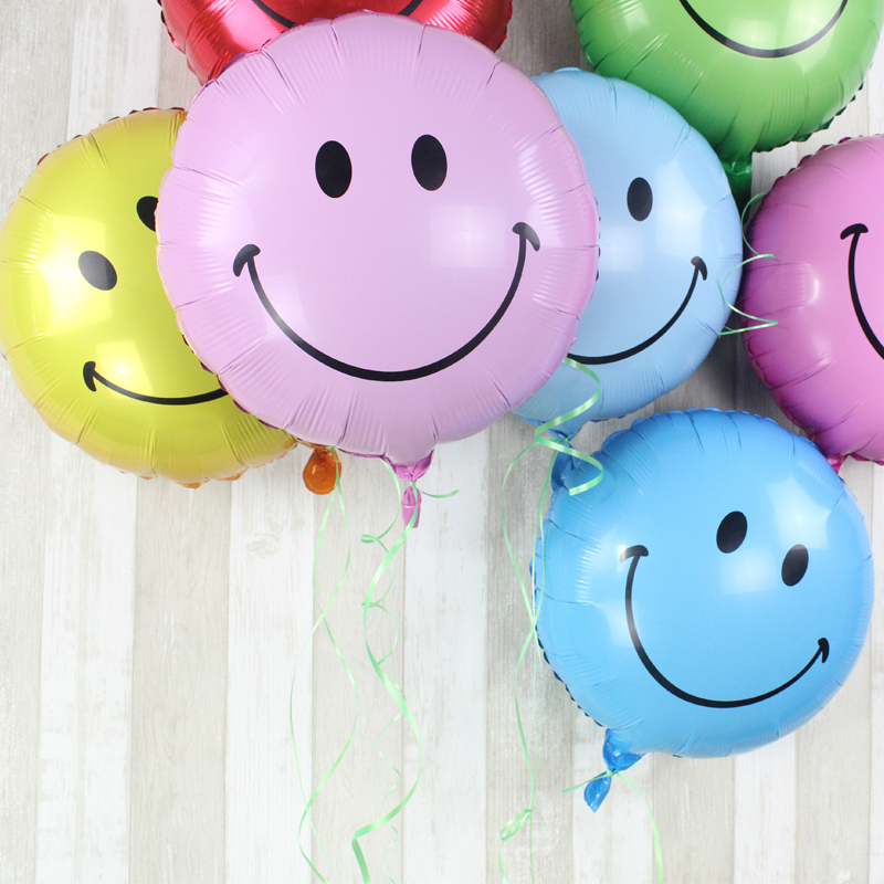 18 inch round smiley cartoon anniversary activities arranged aluminum foil balloons birthday party decoration balloon