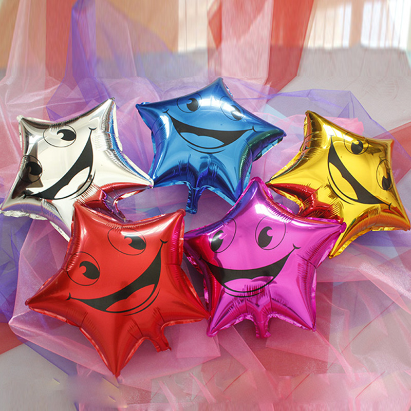 18 inch star star smiley aluminum balloons holiday party balloons balloon decoration balloon helium balloon