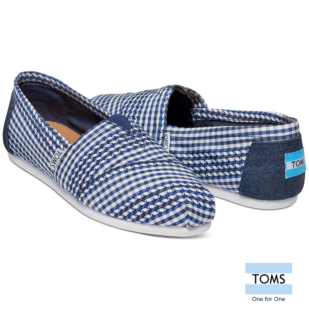 Toms canvas shoes lazy shoes plaid-female models (blue) 10008422 navy