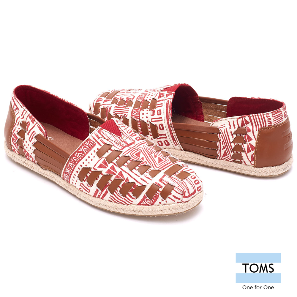 Toms shoes lazy shoes woven leather cord-female models (red) 10007594 red