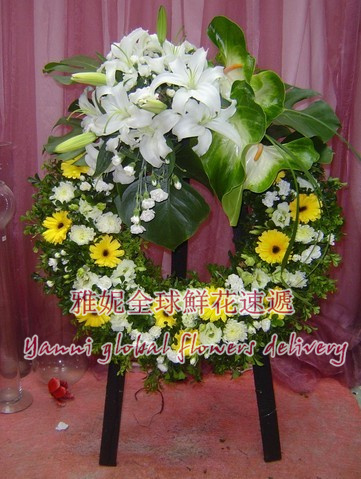 Hong kong business flower basket courier to pay tribute to the memory of silk flower wreath memorial memorial funeral flower baskets booking florist delivery reservations Given distribution