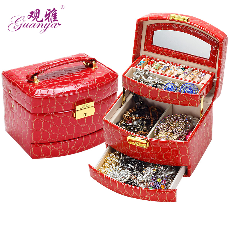 Ya guanya concept lockable storage box dressing jewelry box jewelry box korea european princess jewelry box of 646-59