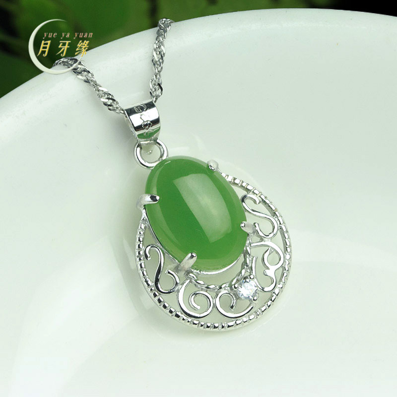 Crescent edge jewelry natural spinach green jade and nephrite jade pendant fashion pendant full of green jasper s925 silver inlaid female