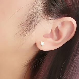 Shun humble lovely delicate rose gold plated titanium steel pentagram earrings ear jewelry female korean wild fashion