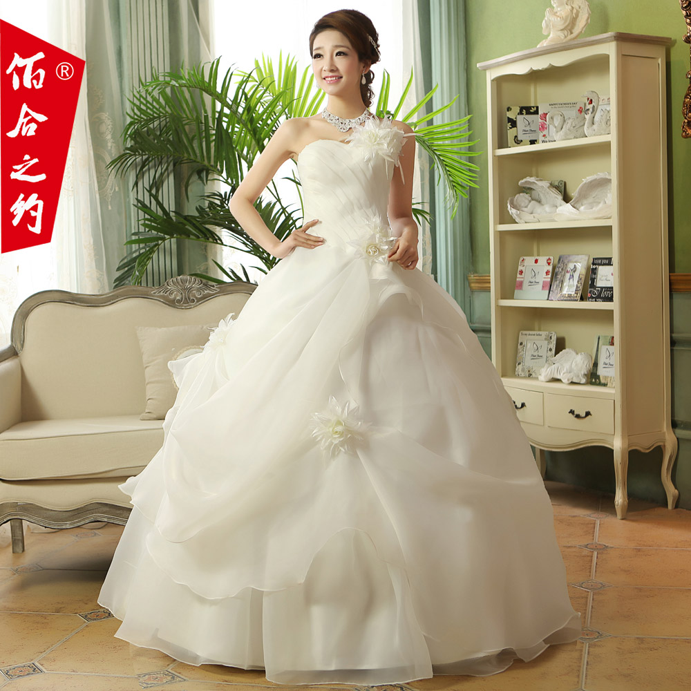 Wedding dress new 2016 korean version of sweet princess wedding qi shoulder wedding dress bride wedding flowers