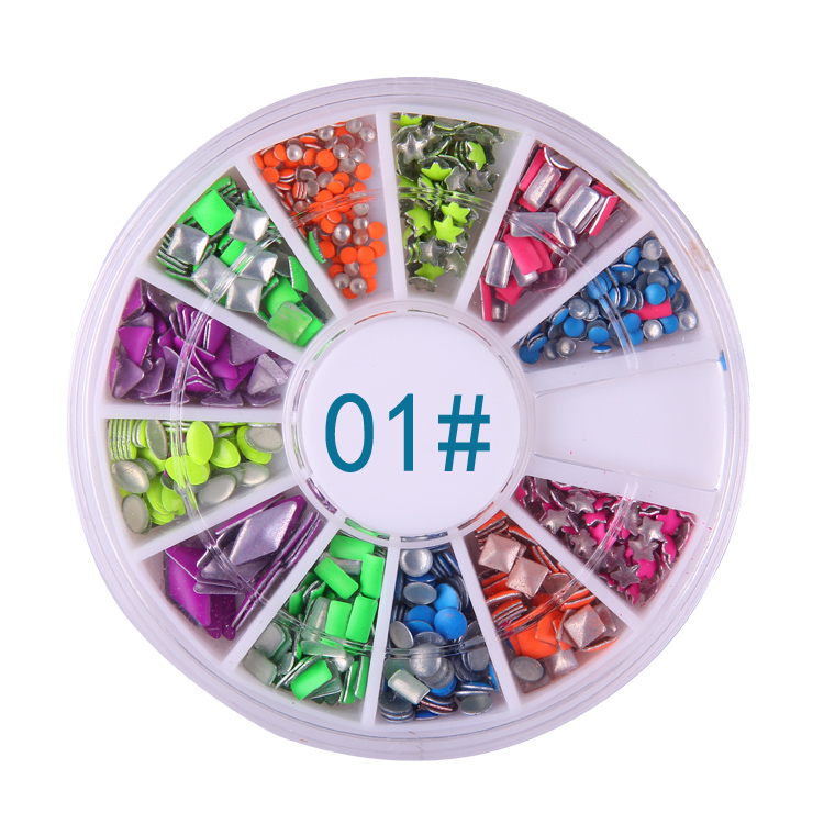 Nail jewelry fluorescent candy colored rivets metal rivets nest nail polish color nail drill 6 colors mixed