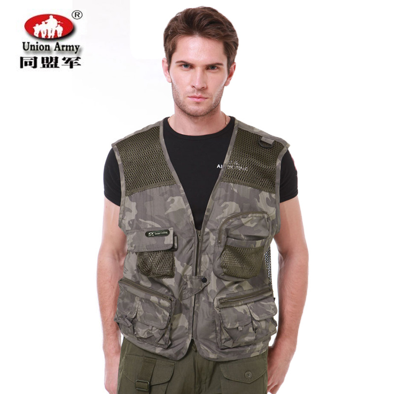 Allies outdoor tactical vest mesh pocket more casual fishing vest correspondent photography vest waistcoat summer thin section