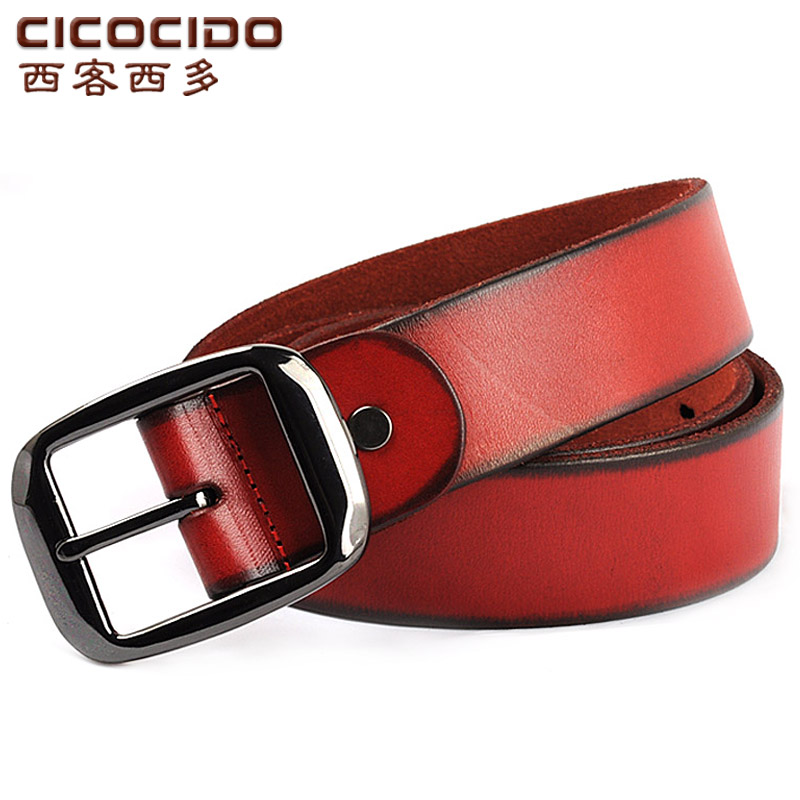 Wild animal year red leather belt first layer of leather ladies wide belt jeans belt red belt