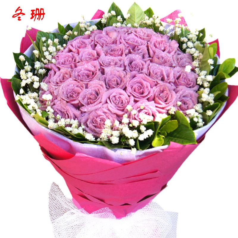 19 purple rose bouquet birthday flower delivery business beijing tianjin shanghai florist fresh flowers nanjing dong shan