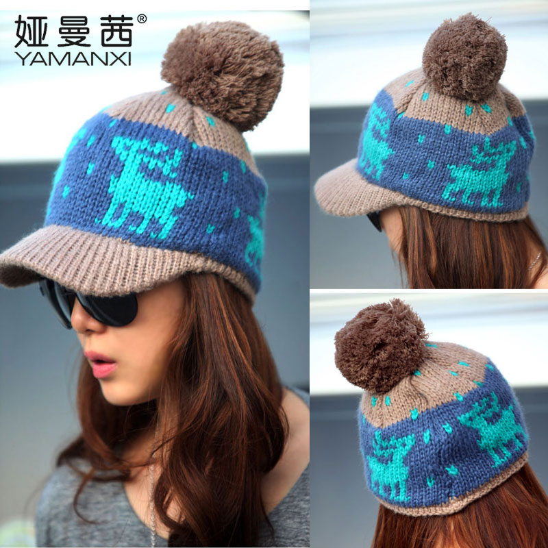 ... Knitted hat pink kt9005. Get Quotations · Korean version of the  deer娅曼茜female sphere wool cap autumn and winter fef91ed3c5bd
