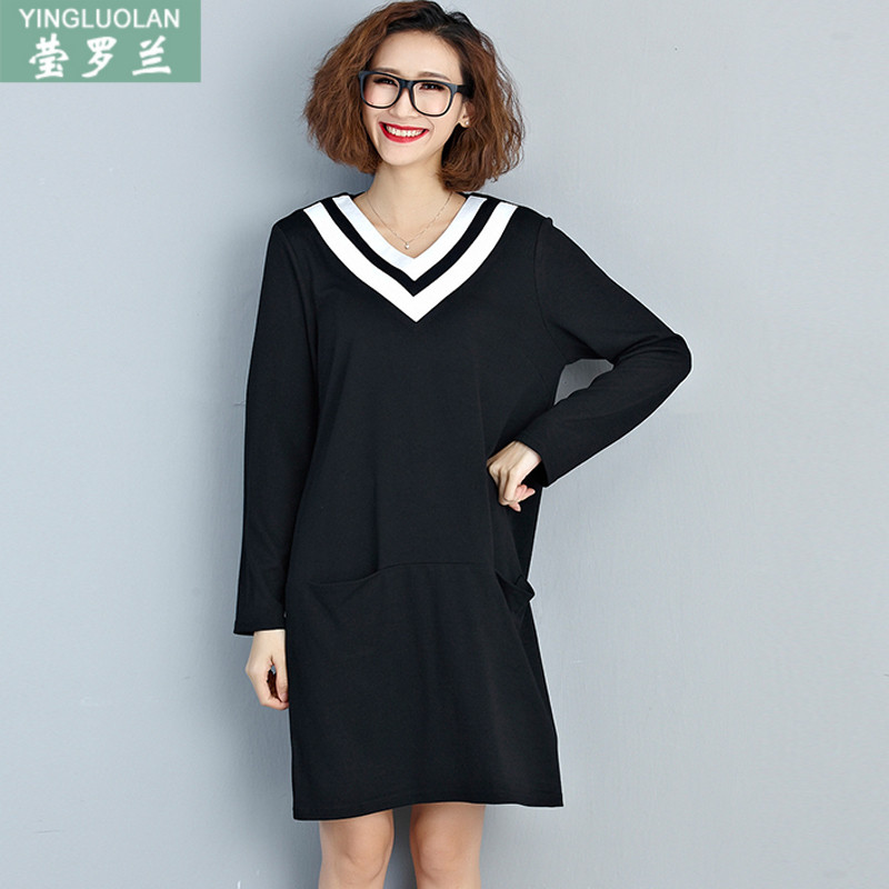 200 of fat sister fall and winter long section long sleeve knit shirt bottoming fat mm plus fertilizer plus large size women long sleeve t-shirt