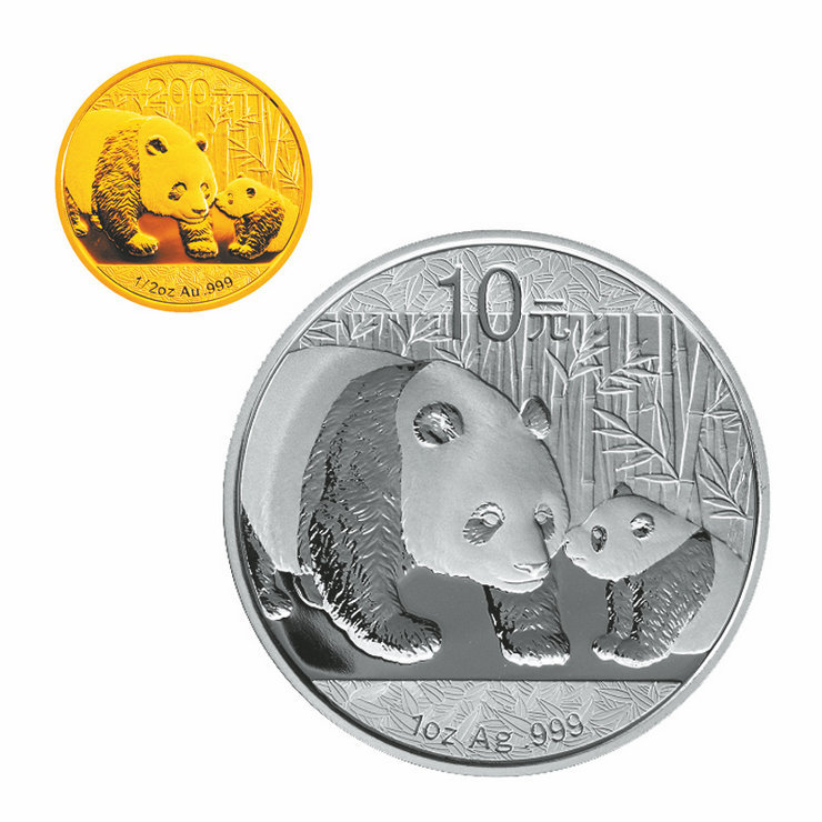 2011 shanghai jicang china gold coin 1 oz silver panda panda 1/2 ounces of gold plus gold and silver coins