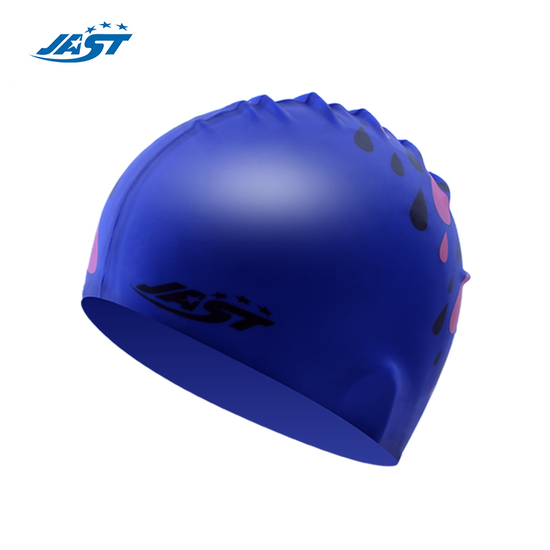 2014 genuine good manchester jas professional waterproof swimming cap swimming cap silicone waterproof swimming cap blue water droplets