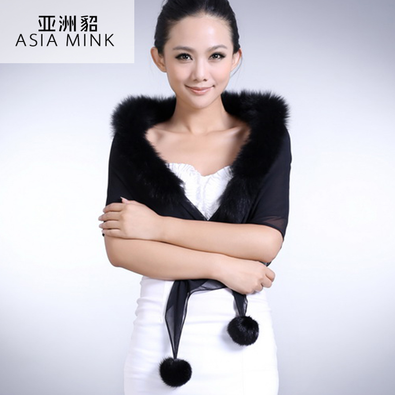 2015 autumn and winter scarf female korean version of the influx of fox fur collar mink fur ball female shawl scarf dual
